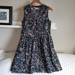 Gap Fit & Flare Sleeveless Navy Floral Shiry Dress